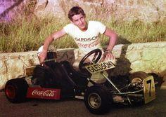 A young Ayrton Senna with his go-kart Coca Cola, Kart Racing, F1 Racing, Michael Schumacher, Formula 1, F1 Drivers, Karting, Car And Driver, Go Kart