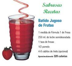 BATIDO JUGOSO DE FRUTAS.- 1 medida de Fórmula 1 batido de fresa. 250 ml. de leche semidesnatada. 1 taza de fresas. 1/2 pomelo. 4-6 cubos de hielo (opcional) APROXIMADAMENTE 320 CALORIAS. http://www.jpcdesayuno.blogspot.com/