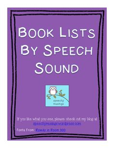 Speechy Musings: Book Lists by Speech Sound Downloadable FREEBIE