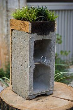 cinder block bird house, feeder