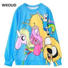 WKOUD Fashion Character Printed Hoodies Women's Harajuku Sweatshirt Long Sleeve Loose Pullovers Hot Sale WY0896 #Affiliate
