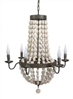 """30"""" Round x 36""""H Iron Chandelier w/ Wood Beads & 6 Lights (40 Watt Bulb Maximum, Hard Wire Only, UL Listed) This item is available to order! Please contact a Laura of Pembroke sales associate for avai"""
