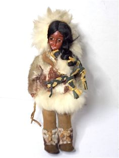 Vintage Eskimo Inuit Doll 1950s by heartseasevintage on Etsy, $25.00