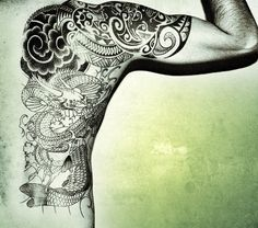 Here a simple tattoo on the half body and its in one color tone and its a line work and there is tattoo from arm towards waist and its look good and there is antique green color on the picture. Great Tattoos, Awesome Tattoos, Japan Tattoo, Dragon Tattoo Designs, Viking Symbols, Color Tattoo, Tribal Tattoos, Tatting, Piercings