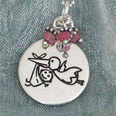 Stork Bringing Baby Necklace