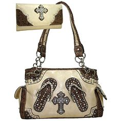 Western Rhinestone Cross Accent Purse Handbag With Matching Wallet  Beige >>> Check this awesome product by going to the link at the image.