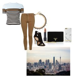 """""""Take an afternoon walk"""" by selinakylex ❤ liked on Polyvore featuring Prada, T By Alexander Wang, Joomi Lim, Topshop, Bite, Richmond & Finch and stripedshirt"""