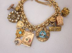 100+ Year Old Antique Charm Bracelet with Watch Fob Locket, and Victorian Charm Elements - One of a Kind Repurposed Jewelry Designs - JryenDesigns