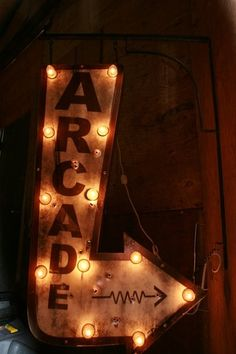 Vintage Style, Antique Look Industrial Metal Double Sided Lighted Bulb Sign