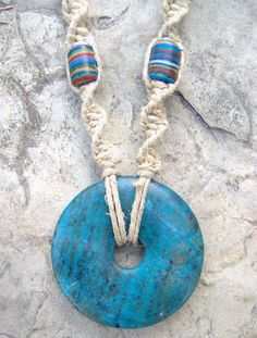 Hemp Necklace w/ Blue Stone Pendant - LOVELY COLORS