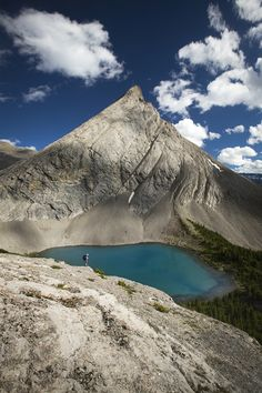 Summer Blues - We tried to get the approach done fairly quickly, but spots like this kept slowing us down... :-) Little Coleman Lake, Banff National Park.