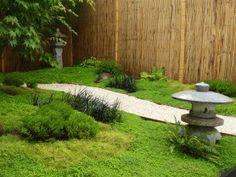 Jardin Japonais lanterne Japonaise, canisse & Bambous fendu