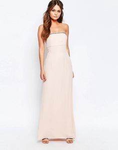 Elise Ryan | Elise Ryan Bandeau Maxi Dress With Embellished Trim at ASOS