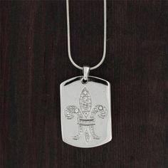 Rhinestone Fleur de Lis Pendant Sterling Silver Necklace Jewelry Dog Tag #YouniqueJewelry #Pendant