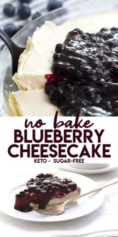 Keto No-Bake Blueberry Cheesecake Creamy cheesecake deliciousness! A perfect keto summer dessert, you don't even have to turn on your oven. Just prep and go, and enjoy the sugar-free fruits of your labor. Desserts Keto, Sugar Free Desserts, Sugar Free Recipes, Low Carb Recipes, Holiday Desserts, Diabetic Dessert Recipes, Diabetic Cake, Sugar Free Baking, Healthy Recipes
