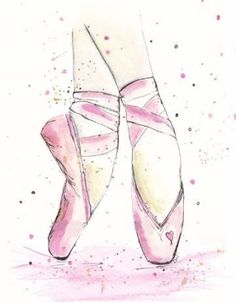 Art for American Girl dollhouse Ballet studio Ballet Drawings, Dancing Drawings, Art Drawings, Ballet Shoes Drawing, Shoe Drawing, Ballerina Kunst, Ballerina Sketch, Art Ballet, Ballet Studio