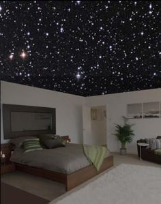 Starry Bedroom ceiling ------- love this idea