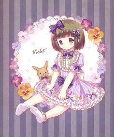 cartoon violet flowers