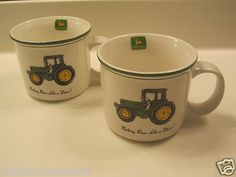 Licensed JOHN DEERE by Gibson LARGE Tractor Coffee Mug Chili mug Set of 2