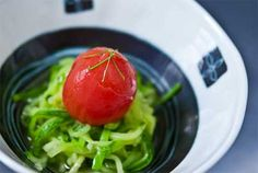 Poached Tomato with Zucchini Soba