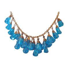 Vintage  Caribbean Blue Art Glass and Brass Bib Necklace