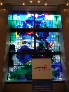 """PL presidency (2011 H2) - Justus Lipsius: Logo (bckg: """"Stained glass"""" by James Scanlon (IE), 1994) ((c) seikinsou)"""