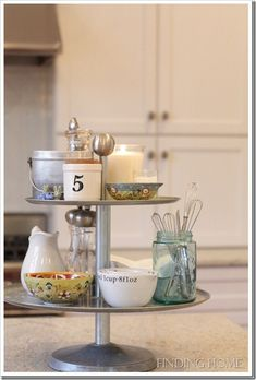 """Kitchen essentials for small spaces:  a small countertop """"lazy susan"""" spinning shelf!"""