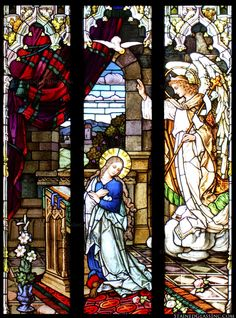 """""""Annunciation of the Lord"""" Religious Stained Glass Window"""