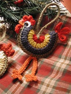 Crocheted Rooster Ornaments Crochet Pattern by buckster on Etsy Crochet Amigurumi, Crochet Yarn, Crochet Toys, Knitted Dolls, Crochet Christmas Ornaments, Holiday Crochet, Bird Ornaments, Ornaments Recipe, Ornaments Image
