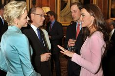 Britain's Catherine, Duchess of Cambridge (R) and her husband Prince William (2nd R) talk to the Prince Albert II (3rd L) and Princess Charlene (2nd L) of Monaco.