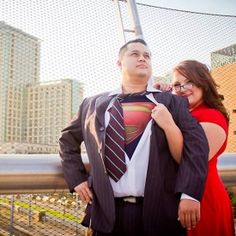 Super cute, Superman-themed Engagement Session on a bridge overlooking downtown San Diego. Classic ! Photos by BellaDiva Photography