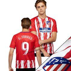 Le Meilleur Du Nouveaux Maillot Atletico Madrid (T.Torres 9) Domicile Rouge/Blanc Avec Flocage Retro 2017/2018 Personnalise