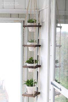 Supplies: plants, rope, scrap wood, terra cotta pots, metal ring, paint.