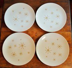 4 Royal China Crystal Dinner Plates Mid by CobblestonesVintage