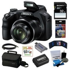 Sony Cyber-shot DSC-HX200V 18.2MP Exmor R CMOS Digital Camera with 30x Optical Zoom and 3.0-inch LCD + Sony 32GB SD Card + Sony Case + Replacement Battery Pack + Mini HDMI Cable + Accessory Kit by Sony. $418.00. Fuel your fervor for photography with this Cyber-shot HX200V camera. Advanced yet user-friendly features give you the control you want with the results you crave. Like a massive 30x optical/60x Clear Image zoom for incredible close-ups, high-speed shoot...