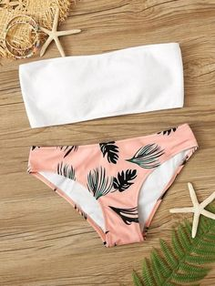 To find out about the Ribbed Bandeau With Leaf Print Panty Bikini Set at SHEIN, part of our latest Bikinis ready to shop online today! 2 Piece Swimsuits, Cute Swimsuits, Cute Bikinis, Women Swimsuits, Teen Bikinis, Beach Swimsuits, Bathing Suits For Teens, Summer Bathing Suits, Cute Bathing Suits