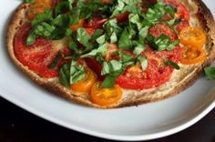 Garlic and Herb Cheese Tortilla Pizza - using Laughing Cow Garlic and Herb