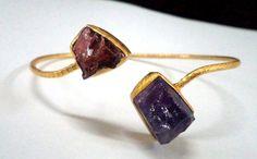 47896 Raw Gemstone Ametyst, Garnet Sterling Silver Bangle , Handmade Raw Jewelry Bangle 18k gold Vermeil Raw Gemstone Bangle