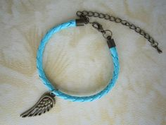Antiqued Bronze Wing Bracelet Mint Green Braid by WearingPretty, $3.99