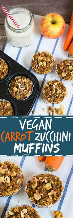 Vegan carrot zucchini muffins with apples and walnuts. Healthy, moist, sweet, and hearty at the same time!