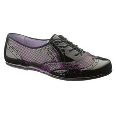Hush Puppies Black Patent and Purple Snake Print Oxfords