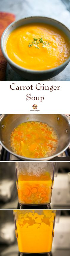 Carrot Ginger Soup ~ A smooth carrot soup with ginger, orange and chicken stock. ~ SimplyRecipes.com