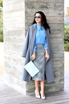 Cool Tone Colors with Pastel Tone Colors. Grey Trench Coat. Baby Blue Blouse. Light Pink Pumps. Light Grey Pencil Skirt. Light Blue Clutch. Work Wear. Sophisticated Style. Office Outfits.