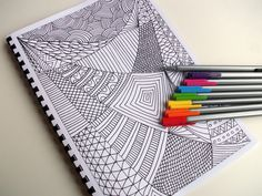 Coloring Book, Zentangle Inspired Printable Fun for Kids, 12 Intricate Coloring Patterns, Zendoodles to Color. via Etsy.