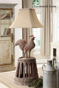Farmhouse Rooster Lamp would look nice in a French country cottage or a rustic log home. Farmhouse Style Furniture, Rustic Furniture, Farmhouse Decor, Rooster Kitchen Decor, Rooster Decor, Rustic Outdoor Decor, Shabby, French Decor, Country Decor