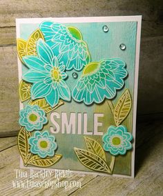 OSAT Blog Hop - No Rules New Year! MFT Fancy Flowers Card Kit, Tina's Crop Shop, MFTStamps, Smile Card