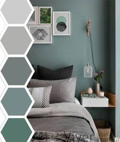 65 Ideas for bedroom colors paint accent wall bathroom Bedroom Wall Colors, Accent Wall Bedroom, Bedroom Color Schemes, Bedroom Green, Bedroom Ideas, Blue Grey Bedrooms, Colour Schemes Grey, Teal Master Bedroom, Teal Bedroom Decor