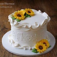 Summer - Cake by Anastasia Sunflower Birthday Cakes, Sunflower Cakes, Pretty Birthday Cakes, Pretty Cakes, Cute Cakes, Beautiful Cakes, Cake Decorating Piping, Cake Decorating Designs, Cake Decorating Techniques