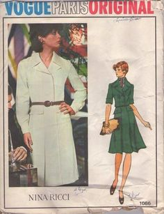 MOMSPatterns Vintage Sewing Patterns - Vogue 1086 Vintage 70's Sewing Pattern LOVELY Paris Original Designer Nina Ricci Safari Flap Pockets ...
