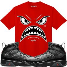 1f11526ef49b06 Jordan Retro 9 Bred Sneaker Tee Shirt to match made by Original Rufnek  Clothing. Shirt